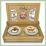 Baby Erinnerungsbox Holz | Personalisiert mit Foto, Namen & Daten | Geschenk-Set erste Locke erster Zahn | Milchzahndose | erste Locke Set (Orange)