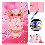 Samsung Galaxy Tab A 10.1 Zoll/T580 Leather Case,Samsung Galaxy Tab A 10.1 Zoll/T580 Flip Case,Etsue Funny Owl Design Soft Back Cover Pu Leather Magnetic Bookstyle Leather Wallet Case Cover with Stand and Card Holder for Samsung Galaxy Tab A 10.1 Zoll/T580+Blue Stylus Pen+Bling Glitter Diamond Dust Plug(Colors Random)-Owl