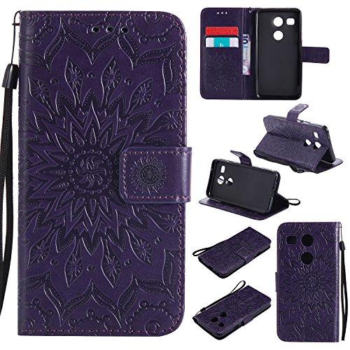 Nexus 5X Hülle,LG Nexus 5X Hülle,LG Nexus 5X Leder Wallet Tasche Brieftasche Schutzhülle,Cozy Hut® Prägung Sunflower Muster PU Lederhülle Flip Hülle im Bookstyle Cover Schale Stand Ständer Etui Karten Slot Schutzhülle Purple Tasche Wallet Case für LG Nexus 5X 5,2 Zoll - lila