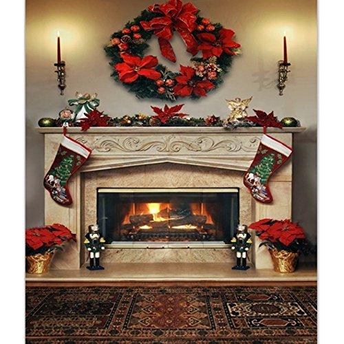 Werse 7x5ft Weihnachten Kamin Fotografie Hintergrund Vinyl Studio Hintergrund Foto Prop