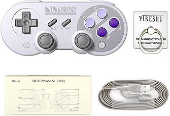 SN30Pro Gamepad, YIKESHU 8Bitdo Wireless Bluetooth Controller Klassisches Nintendo Gamepad Joystick für Mac OS, Android und Windows Geräte (SN30Pro)
