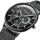 Uhren Herren Edelstahl Geschäft Luxus Kleid Armbanduhr Wasserdicht Analog Großes Gesicht Wählen Sport Uhren Beiläufig Mailänder Mesh Uhrenarmband Gold Schwarz für Männer