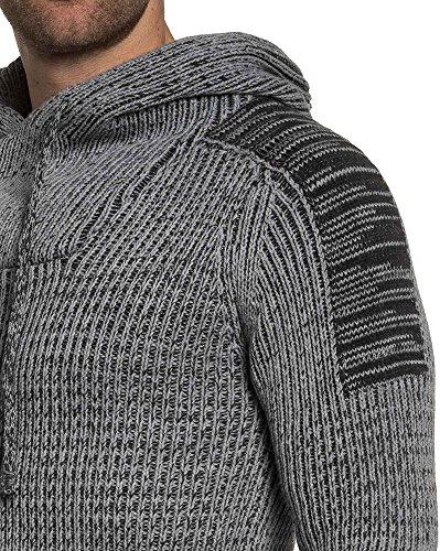 BLZ jeans - Pull gris maille homme à capuche Gris