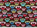 Kinderstoff, Baumwolle, Affen, braun-multicolor, 140cm