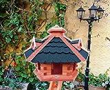 XXL große Gartendeko aus Holz, mit BLAU blaugrau /ohne Ständer BLAU blaugraue Dachschindeln Vogelhaus, Gartendeko , große Größen, auch mit vogelhausständer und Silo, ACHTUNG kein Bausatz von amazon oder zum Bemalen