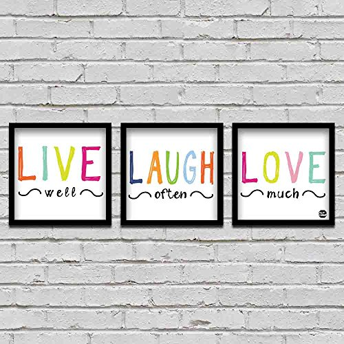 Nutcase Designer Wall Art 8x8 Photo Poster Frames with Life Proof Prints - Set Of 3 Pieces - Framed Wall Decor Hanging Concept Artwork - Live Laugh Love