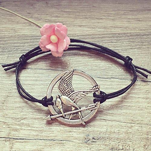 Spotttölpel Armband in Schwarz Silber Größenverstellbar, mockingjay / bird / vintage / ethno / hippie / must have / statement / florabella schmuck