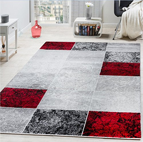 Coupon Matrix - Paco Home Designer Rug Chequered in Marble Visual Effect Flecked Grey Red Sale, Size:80x150 cm