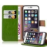 Cadorabo Hülle für Apple iPhone 6 Plus/iPhone 6S Plus - Hülle in Gras GRÜN – Handyhülle im Luxury Design mit Kartenfach und Standfunktion - Case Cover Schutzhülle Etui Tasche Book