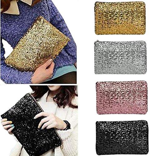Modus blendfrei Glitzerperlen Glitzer Bling Tasche Handtasche Elegante Frauen Rucksack Große Kapazität Zipper Umschlag silber Gold