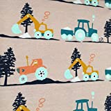 Biojersey Bagger Traktor Sand Beige Biostoff Jersey Bio-Stoff