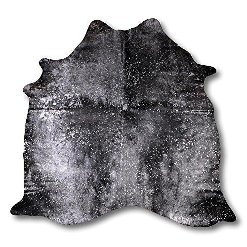 Fivekorn Kuhfell Teppich aus Südamerika silber gesprenkelt schwarz B200 x L230 cm