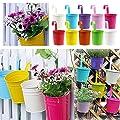 10pcs Blumen-Töpfe 10 Farben-Metall-Eisen-Blumen-Topf-hängenden Balkon-Garten-Pflanzer-Ausgangsdekoration von Excerando bei Du und dein Garten