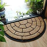 Liveinu Halbkreis Kokosfaser Schmutzfangmatte Fußmatte Türvorleger Sauberlaufmatte Fußabstreifer für Haustür Innen und Außen Stil 4 45x75cm
