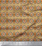Soimoi Orange Samt Stoff Diamant & Chevron geometrisch
