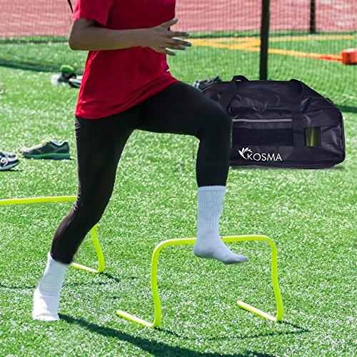 Kosma Pack de 10 vallas de agilidad velocidad Multi-Sport ayudas a la formación: tamaño 9 pulgadas con bolsa de transporte gratuita - (color amarillo)