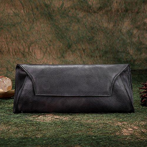 Nouvel original vintage fait main en cuir loisirs première couche de couleur solide portefeuille long sac d'embrayage Gray