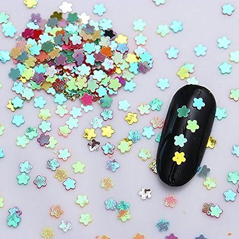 BONNIESTORE 1 Box Nail Decals Mini Colorful Nail Sequins Plastic Mixed Solid Plum Blossom Paillette Manicure Nail Art DIY Decoration#5
