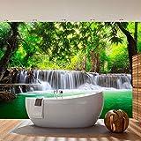Fototapete Wald - ALLE WALDMOTIVE auf einen Blick ! Vlies PREMIUM PLUS - 350x245 cm - DEEP FOREST WATERFALLS - Wasserfall Bäume Wald Thailand See Wasser Meer - no. 067