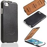 iPhone 8 / 7 Schutzhülle - ECHT LEDER - HANDGEFERTIGT - Hülle Etui Flip Case Lederhülle von TWOWAYS - Farbe Schwarz