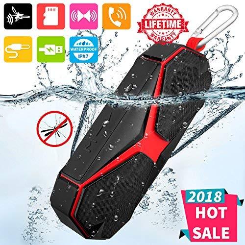 Enceinte Bluetooth Portable,Haut-parleur Bluetooth Speaker Waterproof Enceinte Sans Fil Haut Parleur pour iPhone/Android Phones/Samsung,Son HD Stéréo,Mains Libres Téléphone,Carte TF Support,Noir Rouge