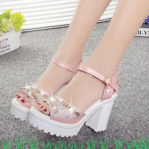 LvYuan Women's Summer Sandals / Fish mouth / Fashion / Party & Evening Dress / Chunky Heel / Buckle strass / Chaussures Pink