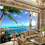 Tapete 3d wandbild tapete erweitern den raum balkon meerblick wohnzimmer tv hintergrund wanddekor papier XXL 350X781CM