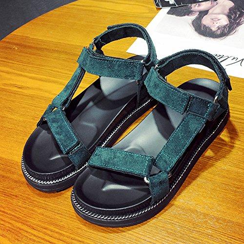 XY&GKSandales femmes montrent l'été All-Match léger chaussures de plage Chaussures de loisirs avec télévision étudiantes Green
