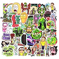 Rick Stickers for Water Bottles,50 PCS Morty Waterproof Vinyl Decal Stickers for Hydro Flask Guitar Travel Case Door Laptop Luggage Car Bike Bicycle