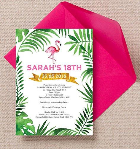 personalisierbar Tropical Flamingo Geburtstag Einladungen mit Umschlägen (10Stück)