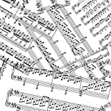 Tela–0.5Metro de música–Hojas de música notas blanco–wil03–Tela por impresiones de Wilmington–100% algodón