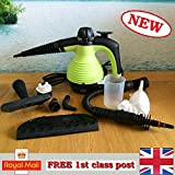 MarkUK Electric Handheld Steam Cleaner Portable Hand Held Powerful Steamer Cleaning Set with accessories 48h courier (Green, steam cleaner)