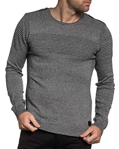 BLZ jeans - Pull fashion homme noir chiné avec zips Noir