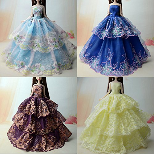 4 Pcs Fashionistas Casual mini kurze Gruppe Für Barbie Puppe/Spitzekleid / Puppenzubehör Dress Up (4er Set)