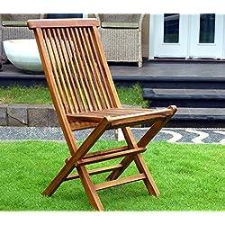 Wood-en-Stock - Silla de jardín de madera de teca encerada, silla plegable