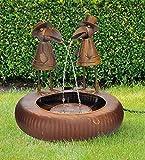 Metall Brunnen zwei Raben Wasserspeier Springbrunnen Gartenbrunnen Zierbrunnen Indoor