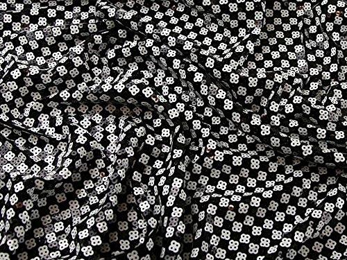 Minerva Crafts Zugluft Pailletten Squares Stretch Jersey Kleid Stoff schwarz & weiß, pro Meter -