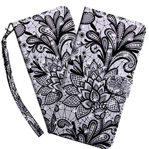 HMTECH LG K50 Hülle,Für LG Q60 / LG K50 Handyhülle 3D Schwarz Blumen Flip Case PU Leder Cover Magnet Schutzhülle Tasche Ständer Handytasche für LG Q60 / LG K50,BX Black Flower