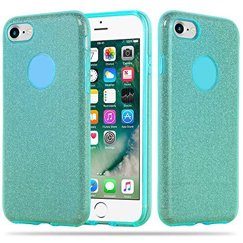 Cadorabo Hülle für Apple iPhone 8 / iPhone 7 / iPhone 7S - Hülle in Sternenstaub TÜRKIS – TPU Silikon und Hardcase Handyhülle im Glitzer Design - Hard Case TPU Silikon Schutzhülle