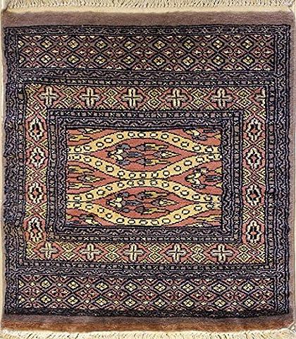 58x79 Pak Jaldar Bokhara Design Area Rug with Wool Pile   100% Original Hand-Knotted in Dark Brown,Orange,Blue colors   a 61 x 91 Rectangular Bokhara Jaldar Rug