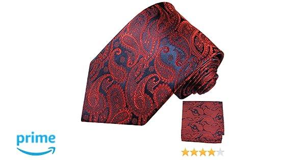 Paul Malone Krawatte 2tlg rot blau paisley Seidenkrawatte Einstecktuch 464