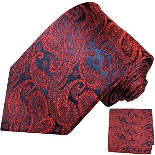Paul Malone Krawatten Set 2tlg rot navy blau paisley 100% Seidenkrawatte