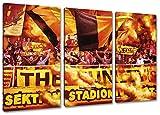 Dortmund Ultras, 3-Teiler Format: 120x80, Bild auf Leinwand XL, fertig gerahmt