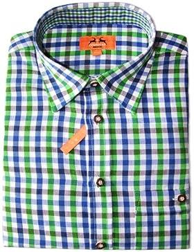 Trachtenhemd für Herren Aquablau Grün Kariert - Slimfit - Marken Hemd - Perfekt zur Lederhose