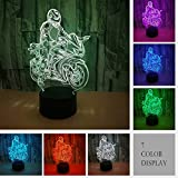 3D Lámpara Illusion óptico lámpara de escritorio 3d Glow LED lámpara 7 Color intermitente Art Escultura luces cámara escritorio mesa luz de noche impressionnant regalo (moto)