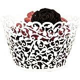 ROSENICE Cupcake Wrappers 50 Stück Muffinförmchen Hochzeit Muffins Backförmchen für Weihnachten Hochzeit Geburtstag(weiß)
