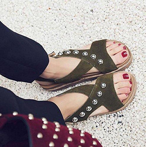 SHINIK Damen Open Toe Pumps Frühling und Sommer Neue leichte Polyurethan Thick Bottom mit Nieten Leder Sandalen Römische Schuhe army green