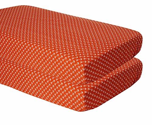 bacati Pfeile 2Stück Krippe Spannbetttuch, weiß/orange (Pfeil Krippe)