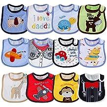 Lictin 12 pcs baberos de bebé para niños y niñas Baberos impermeables de algodón ajuste bebé