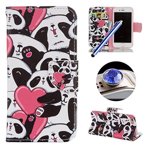 Etsue Cuir Étui pour Apple iPhone 6 Plus/6S Plus 5.5,PU Flip Leather wallet Types de Coque pour Apple iPhone 6 Plus/6S Plus 5.5,Coloré Mode Housse étui pour Apple iPhone 6 Plus/6S Plus 5.5, Avoir Fent Panda